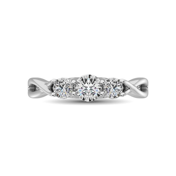10K White Gold 1/5 Ct.Tw. Diamond Three Stone Ring Image 3 Robert Irwin Jewelers Memphis, TN