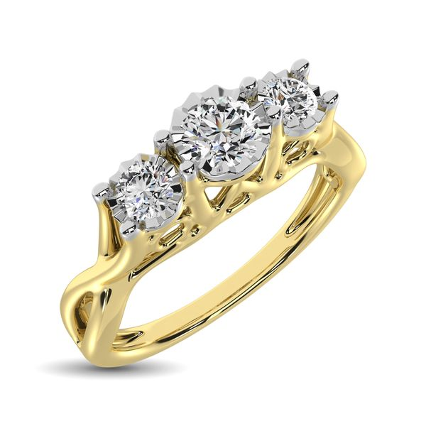 10K Yellow Gold 1/5 Ct.Tw. Diamond Three Stone Ring Robert Irwin Jewelers Memphis, TN