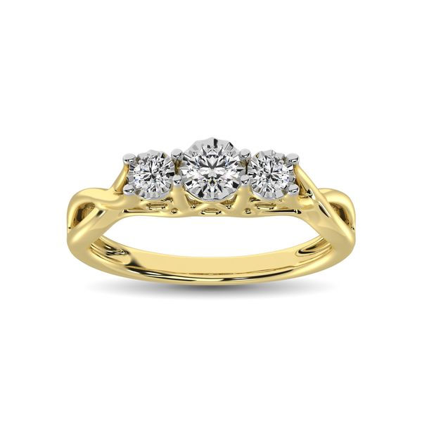 10K Yellow Gold 1/5 Ct.Tw. Diamond Three Stone Ring Image 2 Robert Irwin Jewelers Memphis, TN