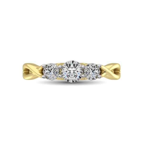 10K Yellow Gold 1/5 Ct.Tw. Diamond Three Stone Ring Image 3 Robert Irwin Jewelers Memphis, TN