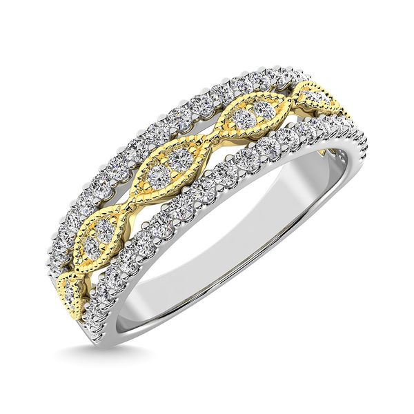 Diamond 3/8 Ct.Tw. Fashion Band in 10K Two Tone Gold Image 3 Robert Irwin Jewelers Memphis, TN