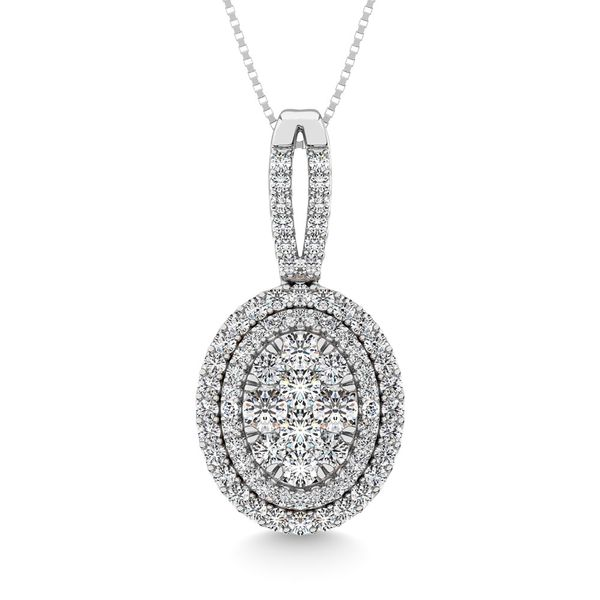 Diamond 1 3/4 Ct.Tw. Oval Shape Cluster Pendant in 14K White Gold Robert Irwin Jewelers Memphis, TN