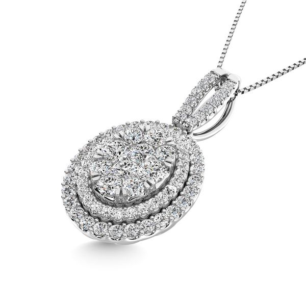Diamond 1 3/4 Ct.Tw. Oval Shape Cluster Pendant in 14K White Gold Image 2 Robert Irwin Jewelers Memphis, TN