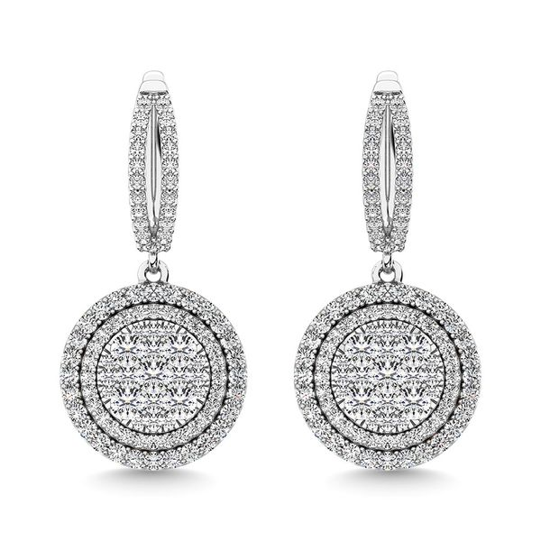 Diamond 2 1/10 Ct.Tw. Roud Shape Dangler Earring in 14K White Gold Image 2 Robert Irwin Jewelers Memphis, TN