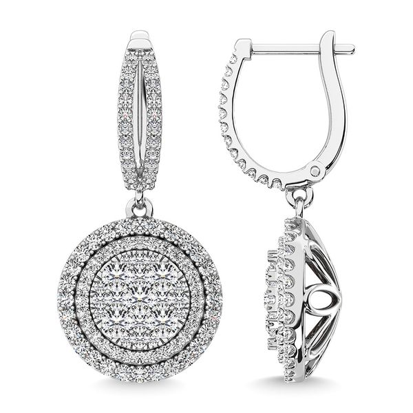 Diamond 2 1/10 Ct.Tw. Roud Shape Dangler Earring in 14K White Gold Image 3 Robert Irwin Jewelers Memphis, TN