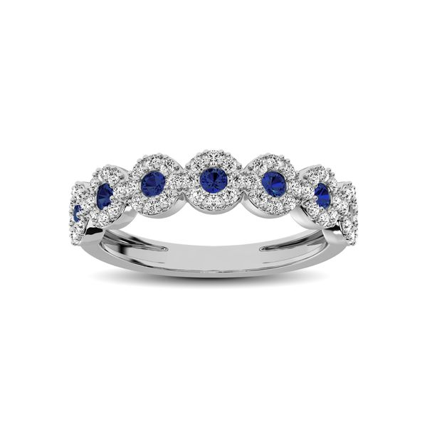 14K White Gold 5/8 Ct.Tw. Diamond & Blue Sapphire Stackable Band Robert Irwin Jewelers Memphis, TN