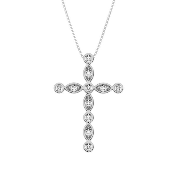 10K White Gold 1/6 Ct.Tw. Diamond Cross Pendant Robert Irwin Jewelers Memphis, TN