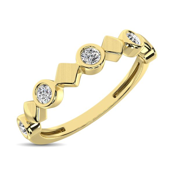 14K Yellow Gold 1/6 Ct.Tw. Diamond Bezel Set Stackable Band Robert Irwin Jewelers Memphis, TN