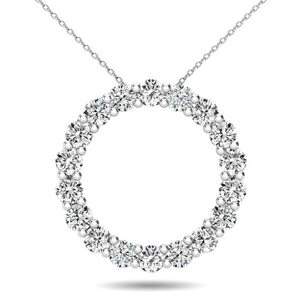 14K White Gold 2/5 Ct.Tw. Diamond Circle Pendant Robert Irwin Jewelers Memphis, TN