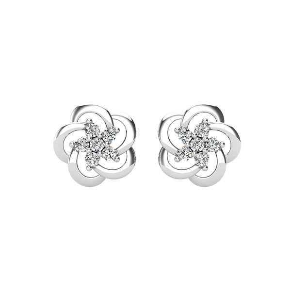 Open Flower Diamond 1/8 Ct.Tw. Stud Earrings Robert Irwin Jewelers Memphis, TN