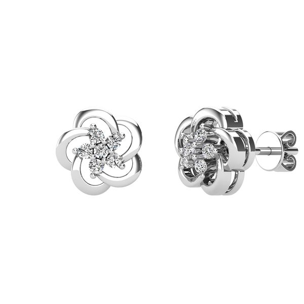 Open Flower Diamond 1/8 Ct.Tw. Stud Earrings Image 2 Robert Irwin Jewelers Memphis, TN