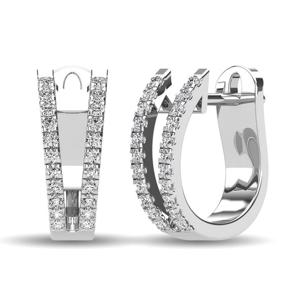 14K White Gold 1/4 Ct.Tw. Diamond Huggies Earrings Robert Irwin Jewelers Memphis, TN
