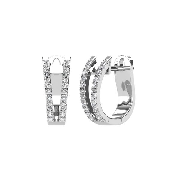14K White Gold 1/4 Ct.Tw. Diamond Huggies Earrings Image 2 Robert Irwin Jewelers Memphis, TN