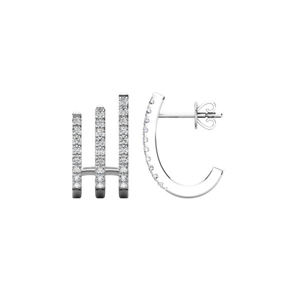 14K White Gold 1/4 Ct.Tw. Diamond Huggies Earrings Image 3 Robert Irwin Jewelers Memphis, TN