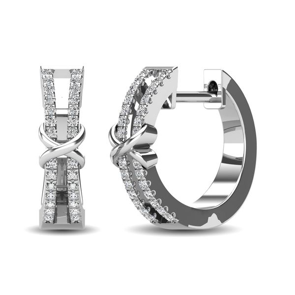 10K White Gold 1/6 Ct.Tw. Diamond Hoop Earrings Robert Irwin Jewelers Memphis, TN