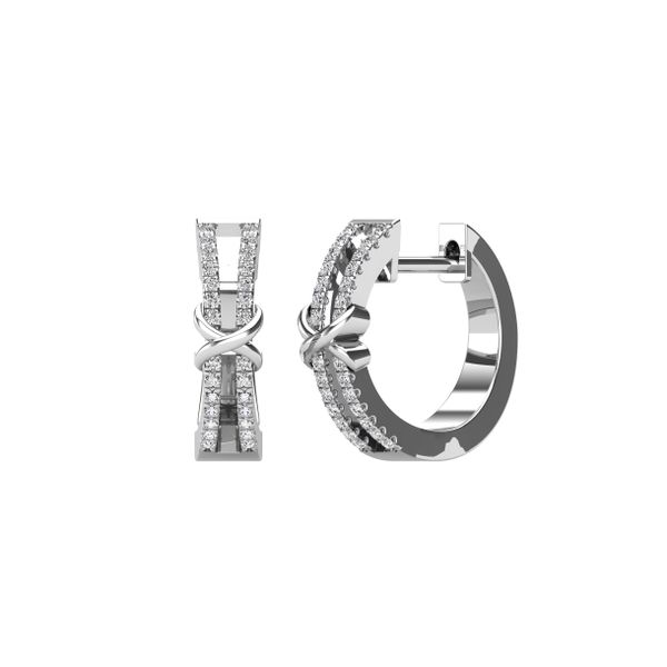 10K White Gold 1/6 Ct.Tw. Diamond Hoop Earrings Image 2 Robert Irwin Jewelers Memphis, TN