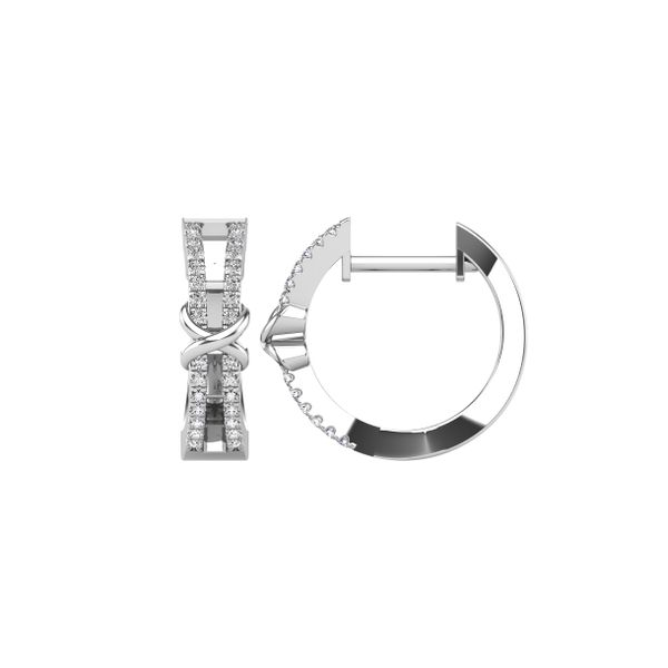 10K White Gold 1/6 Ct.Tw. Diamond Hoop Earrings Image 3 Robert Irwin Jewelers Memphis, TN