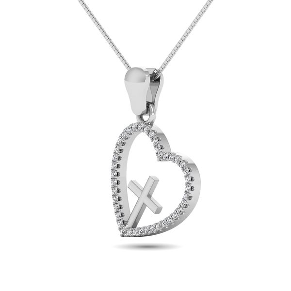 14K White Gold 1/5 Ct.Tw. Diamond Cross Pendant Image 3 Robert Irwin Jewelers Memphis, TN