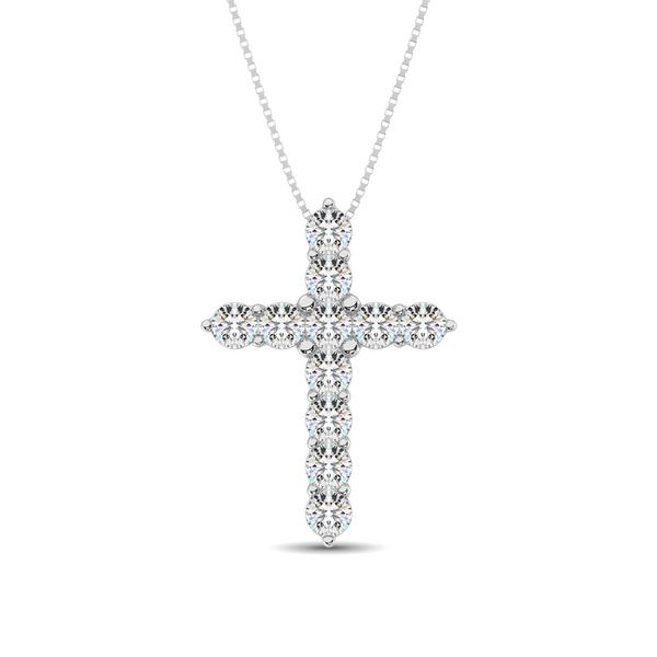 Diamond 1 1/8 Ct.Tw. Cross Pendant in 14K White Gold Robert Irwin Jewelers Memphis, TN