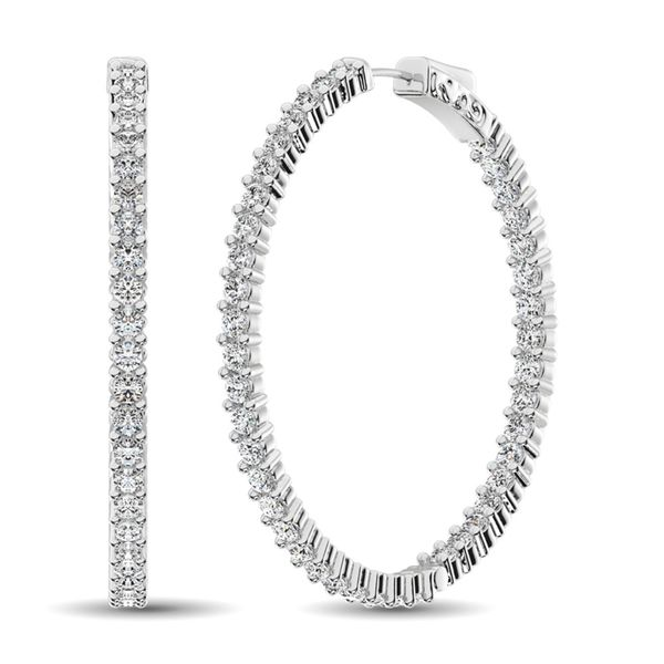 14K White Gold Diamond 2 2/5 Ct.Tw. In and Out Hoop Earrings Robert Irwin Jewelers Memphis, TN