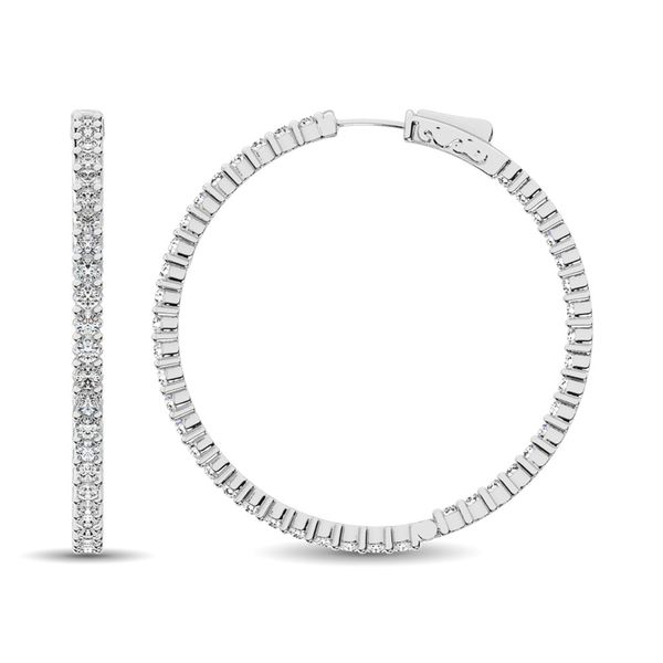14K White Gold Diamond 2 2/5 Ct.Tw. In and Out Hoop Earrings Image 2 Robert Irwin Jewelers Memphis, TN