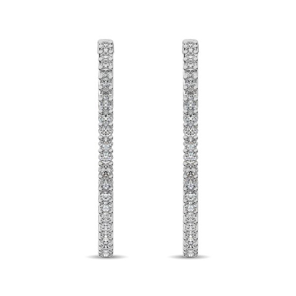 14K White Gold Diamond 2 2/5 Ct.Tw. In and Out Hoop Earrings Image 3 Robert Irwin Jewelers Memphis, TN