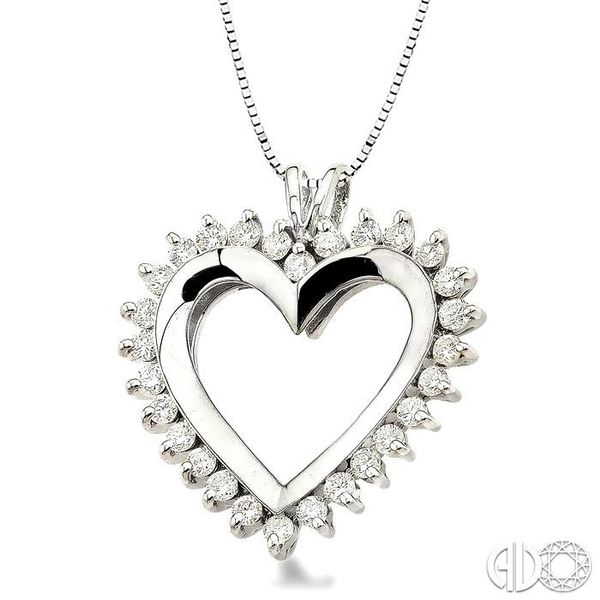 1 Ctw Round Cut Diamond Heart Pendant in 14K White Gold with Chain Image 2 Robert Irwin Jewelers Memphis, TN