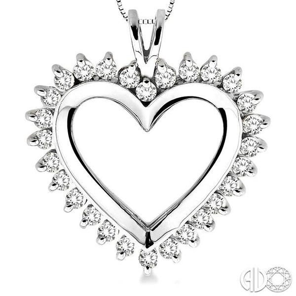 1 Ctw Round Cut Diamond Heart Pendant in 14K White Gold with Chain Image 3 Robert Irwin Jewelers Memphis, TN