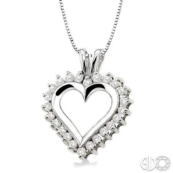 1/2 Ctw Round Cut Diamond Heart Pendant in 14K White Gold with Chain Image 2 Robert Irwin Jewelers Memphis, TN