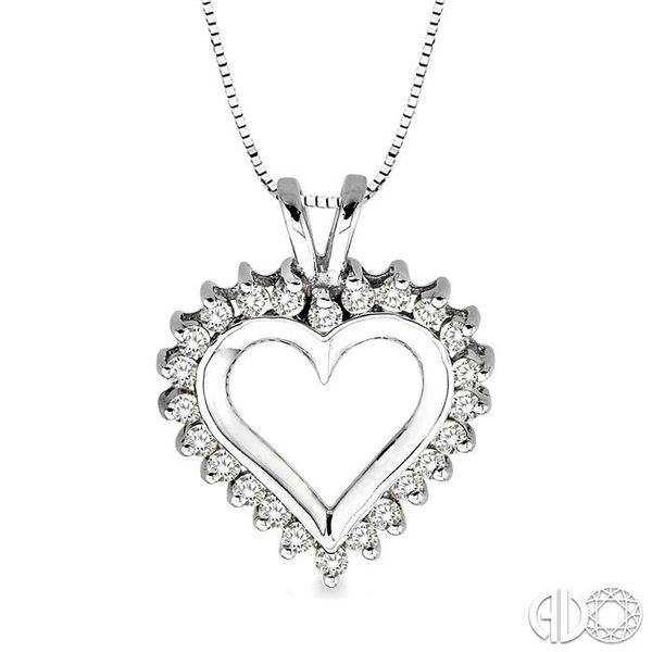 1/2 Ctw Round Cut Diamond Heart Pendant in 14K White Gold with Chain Robert Irwin Jewelers Memphis, TN