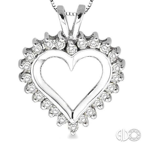 1/2 Ctw Round Cut Diamond Heart Pendant in 14K White Gold with Chain Image 3 Robert Irwin Jewelers Memphis, TN