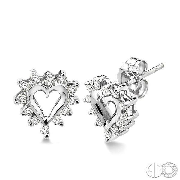 1/4 Ctw Round Cut Diamond Heart Earrings in 10K White Gold Robert Irwin Jewelers Memphis, TN