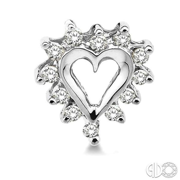 1/4 Ctw Round Cut Diamond Heart Earrings in 10K White Gold Image 2 Robert Irwin Jewelers Memphis, TN