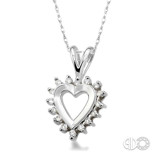 1/10 Ctw Single Cut Diamond Heart Pendant in 10K White Gold with Chain Image 2 Robert Irwin Jewelers Memphis, TN