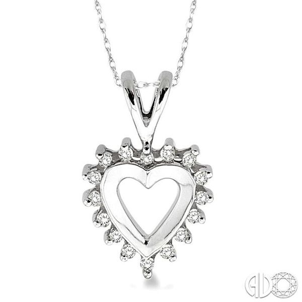 1/10 Ctw Single Cut Diamond Heart Pendant in 10K White Gold with Chain Robert Irwin Jewelers Memphis, TN