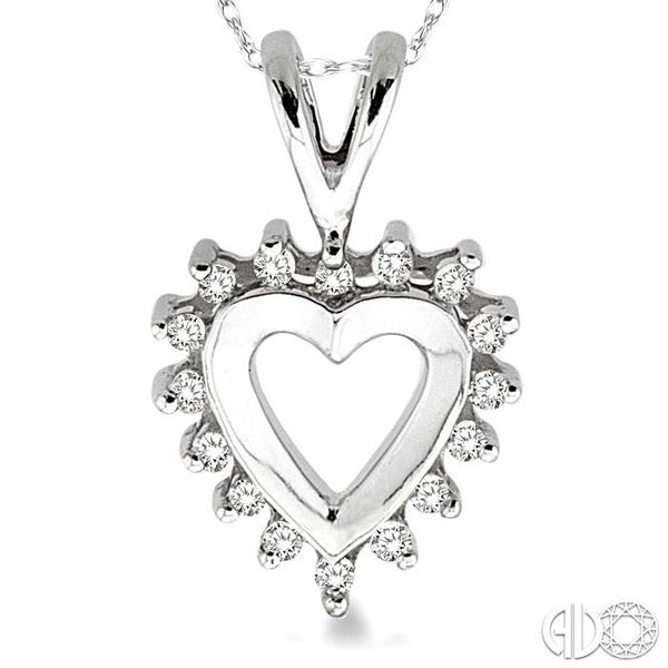 1/10 Ctw Single Cut Diamond Heart Pendant in 10K White Gold with Chain Image 3 Robert Irwin Jewelers Memphis, TN