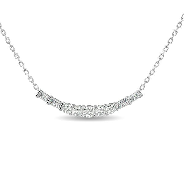 Diamond Round and Straight Buggete Necklace 1/2 ct tw in 14K White Gold Robert Irwin Jewelers Memphis, TN