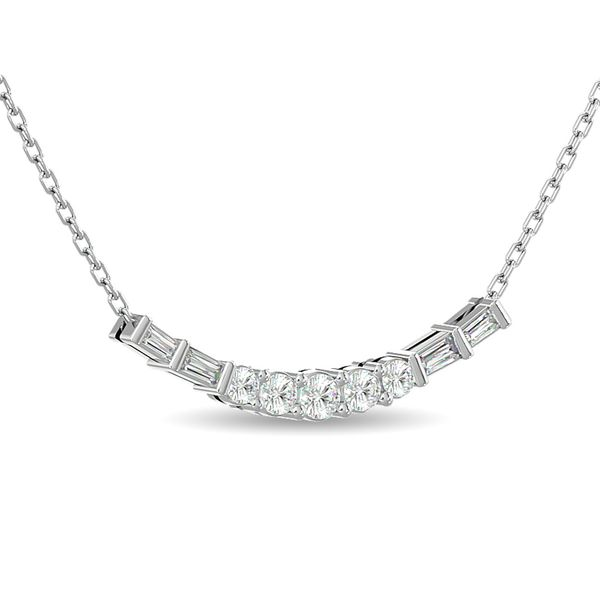 Diamond Round and Straight Buggete Necklace 1/2 ct tw in 14K White Gold Image 2 Robert Irwin Jewelers Memphis, TN