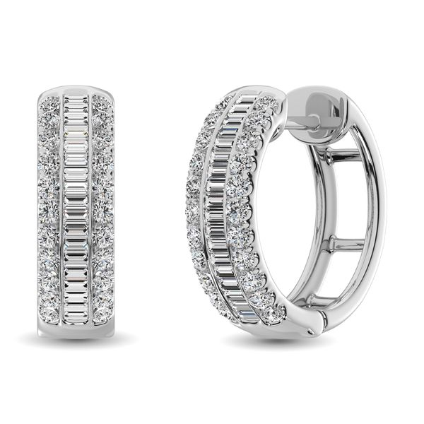 14K White Gold Round and Baguette Diamond 1/2 Ct.Tw. Hoop Earrings Robert Irwin Jewelers Memphis, TN