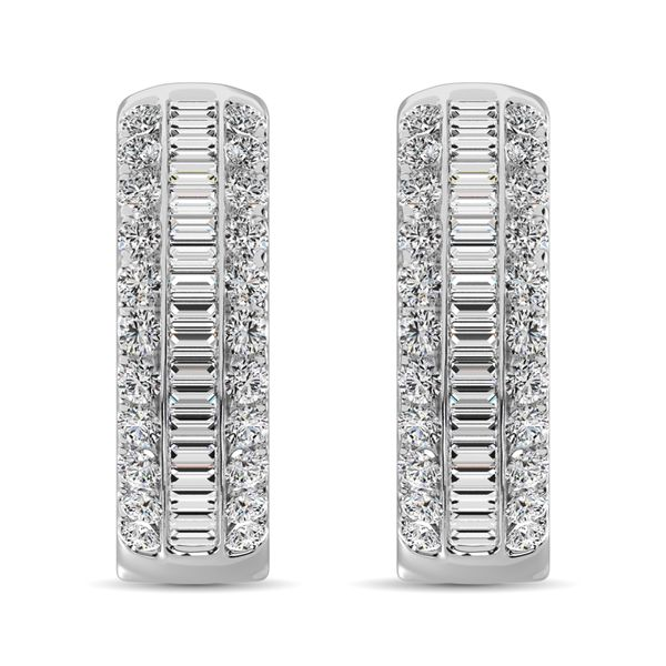 14K White Gold Round and Baguette Diamond 1/2 Ct.Tw. Hoop Earrings Image 3 Robert Irwin Jewelers Memphis, TN