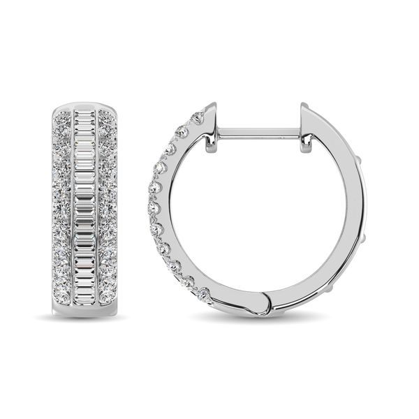 14K White Gold Round and Baguette Diamond 1/2 Ct.Tw. Hoop Earrings Image 4 Robert Irwin Jewelers Memphis, TN