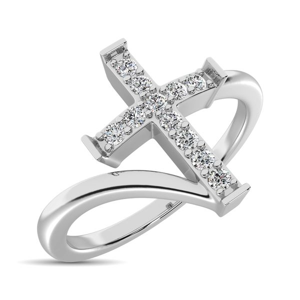 10K White Gold Diamond 1/8 Ct.Tw. Cross Ring Robert Irwin Jewelers Memphis, TN
