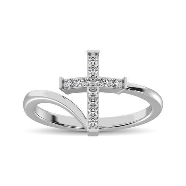 10K White Gold Diamond 1/8 Ct.Tw. Cross Ring Image 2 Robert Irwin Jewelers Memphis, TN