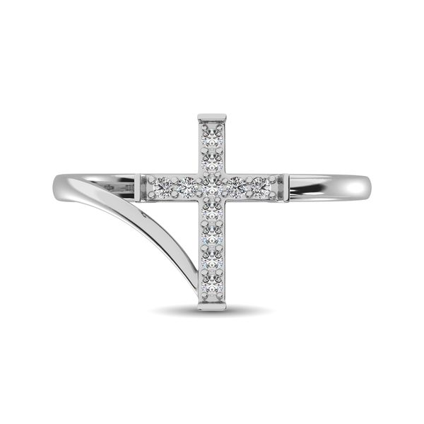 10K White Gold Diamond 1/8 Ct.Tw. Cross Ring Image 3 Robert Irwin Jewelers Memphis, TN