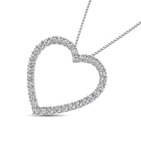 10K White Gold Diamond 1/2 Ct.Tw. Heart Pendant Image 3 Robert Irwin Jewelers Memphis, TN