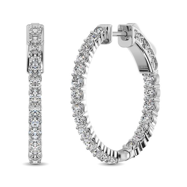 10K White Gold Diamond 1/2 Ct.Tw. In and Out Hoop Earrings Robert Irwin Jewelers Memphis, TN