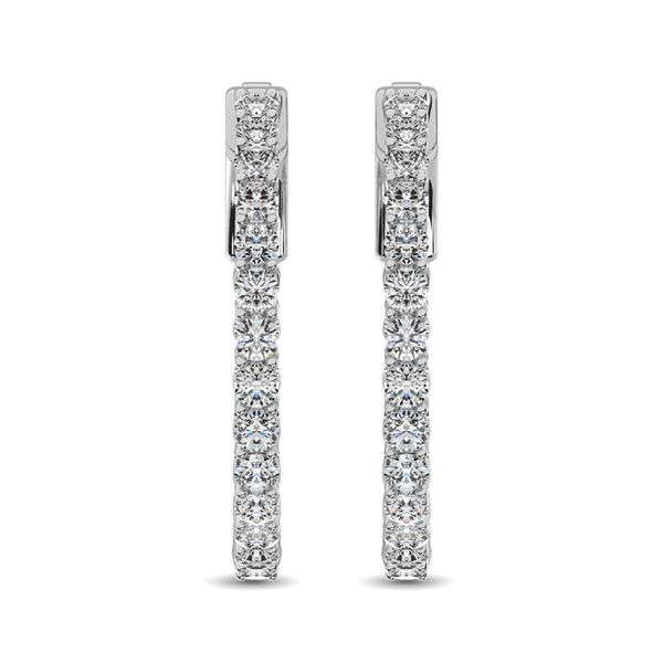 10K White Gold Diamond 1/2 Ct.Tw. In and Out Hoop Earrings Image 3 Robert Irwin Jewelers Memphis, TN