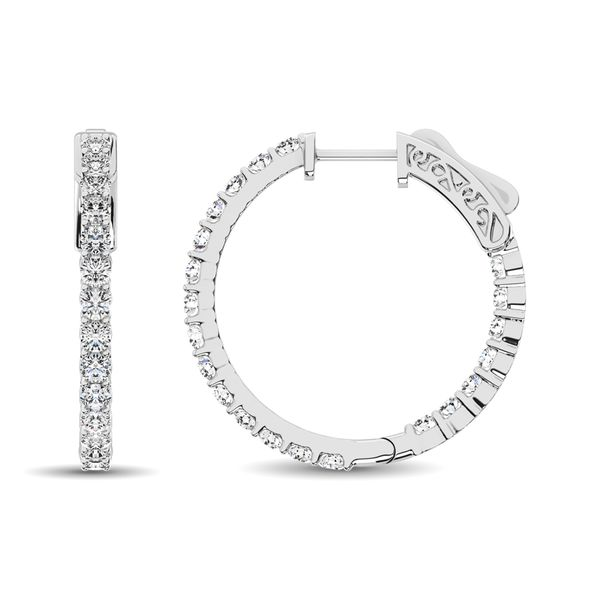 10K White Gold Diamond 1/2 Ct.Tw. In and Out Hoop Earrings Image 4 Robert Irwin Jewelers Memphis, TN