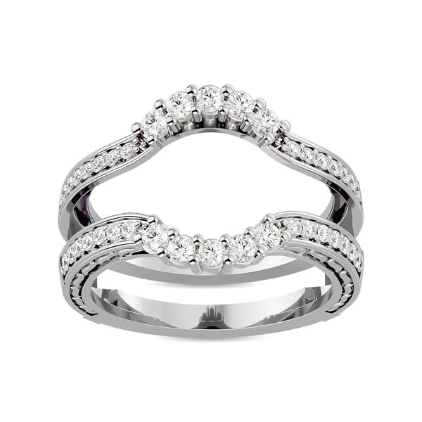 Diamond 1/2 ct tw Round Cut Guard Ring in 14K White Gold Robert Irwin Jewelers Memphis, TN