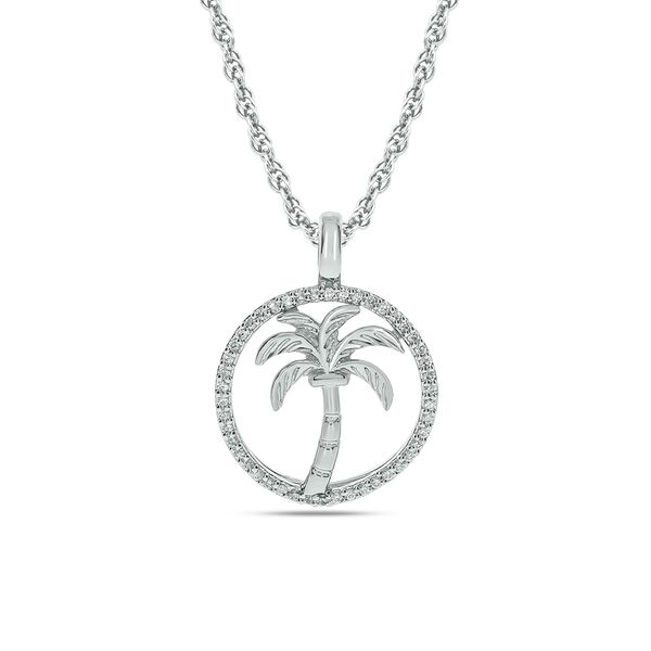 Diamond Sea Of life Palm Tree Pendant 1/8 ct tw in Sterling Silver Robert Irwin Jewelers Memphis, TN